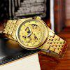TEVISE Trendy Steel Band Men Mechanical Watch - GOLDEN BAND GOLDEN DIAL