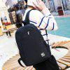 Men Chic Canvas Laptop Backpack with USB Port - BLACK