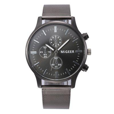 MIGEER 1602 Steel Mesh Band Men Quartz Watch