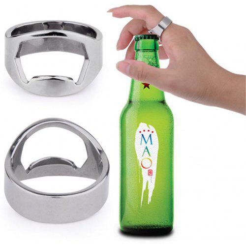 9eadcac3937071 1PCS Stainless Steel Beer Bottle Opener Ring for Connoisseurs Party (Silver)  -  5.05 Free Shipping