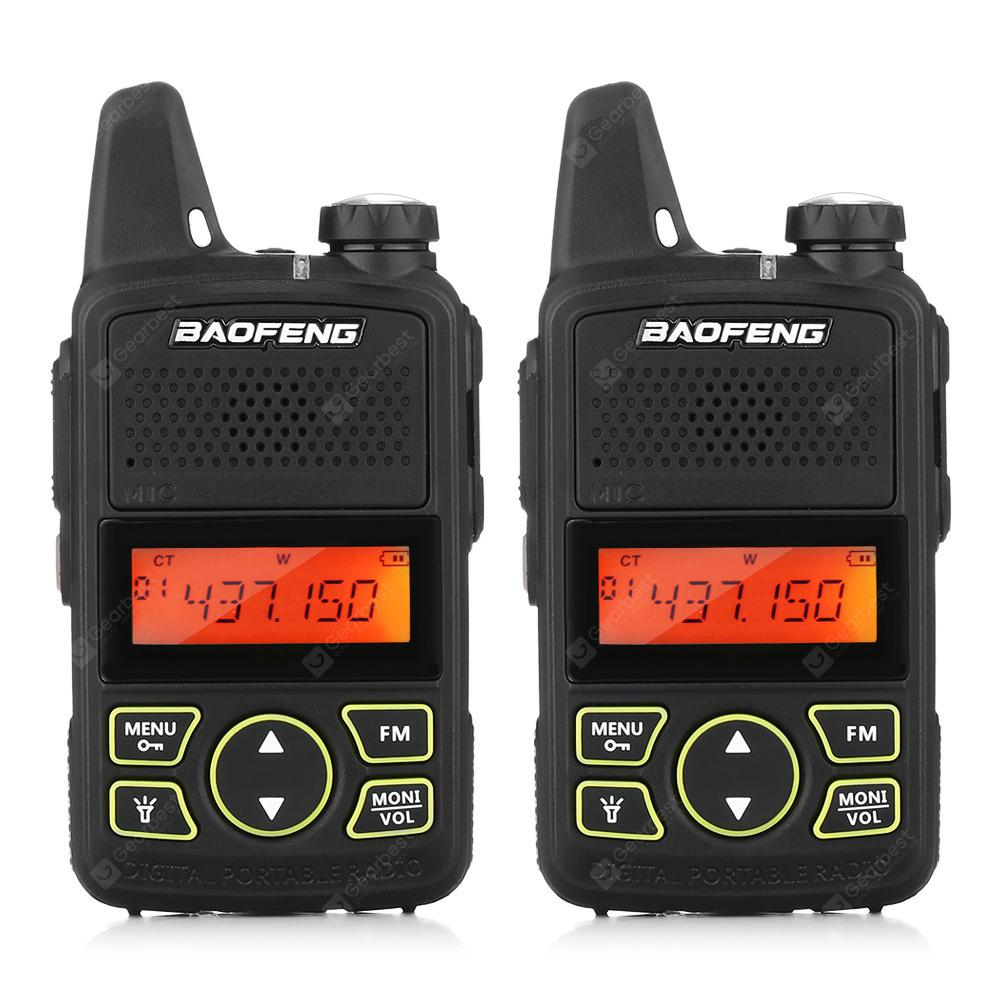 BAOFENG T1 Mini Walkie Talkie Wireless FM Radio 2PCS - Black EU