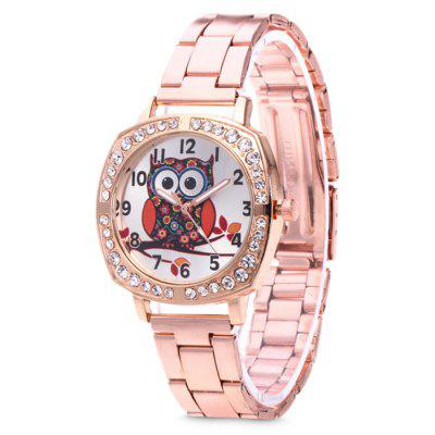 Women Lovely Owl Diamond Stainless Steel Analog Watch