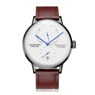 GUANQIN Men Leather Band Automatic Mechanical Watch