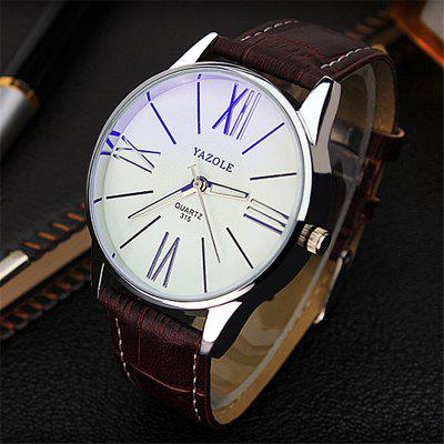 Yazole 315 Leather Band Men Quartz Watch