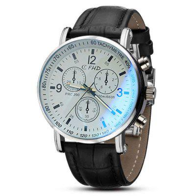 Men Faux Leather Blue Ray Glass Quartz Analog Watches Brown bobo bird wooden quartz men watches casual leather strap analog watch with gift box