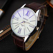 Yazole 315 Leather Band Men Quartz นาฬิกา
