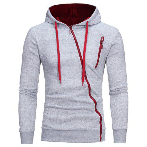 Men Unique Diagonal zipper Slim Soft Hoodie