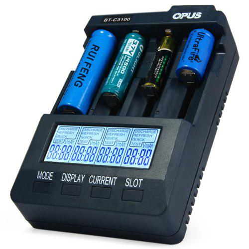 Gearbest Opus BT - C3100 V2.2 Smart Battery Charger - PURPLISH BLUE EU PLUG Charge Discharge Test Refresh 4 Channels for Li-ion NiCd NiMh Batteries