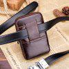 BULLCAPTAIN Leisure Leather Cellphone Waist Bag - BROWN