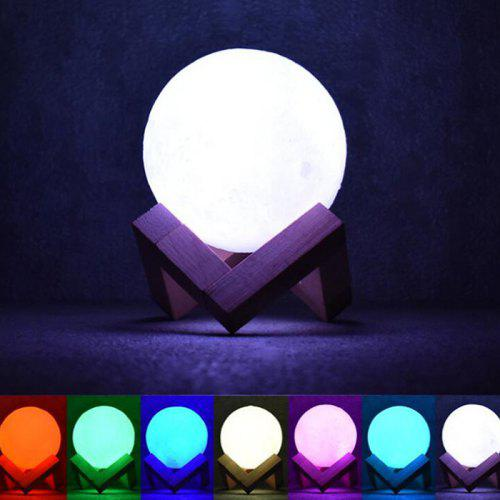 7 Color Night Light Remote Control 3d Moon Shape Lamp Gearbest