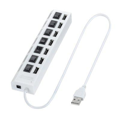 7 Ports USB 2.0 Hub Adapter with Independent Switch