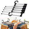 Multifunctional Five-in-one Magic Pants Hanger - SILVER AND BLACK