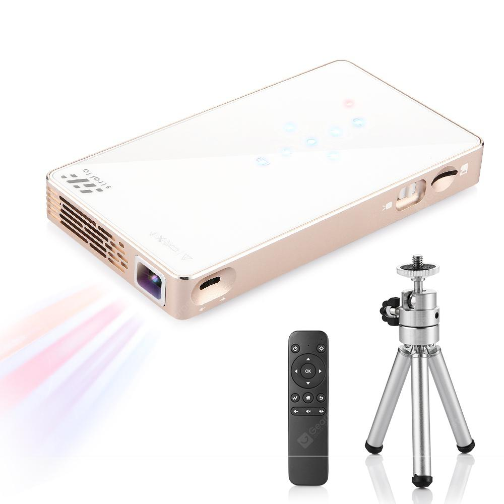 Siroflo Mini Projector with Tripod and Remote Control - WHITE US PLUG (2-PIN)