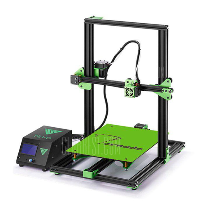 TEVO Tornado Most Assembled Full Aluminum Frame 3D Printer - BLACK AND GREEN EU PLUG 220V  (entrepôt EU-6)