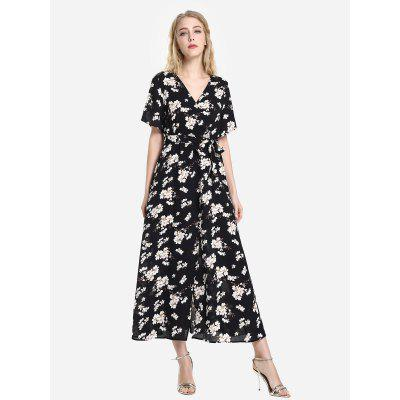 ZAN.STYLE Short Sleeve Floral Print Surplice Dress