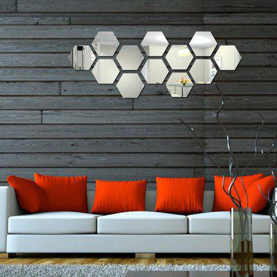 Acrylic Mirror Wall Sticker Set Hexagon Shape Mural Decals