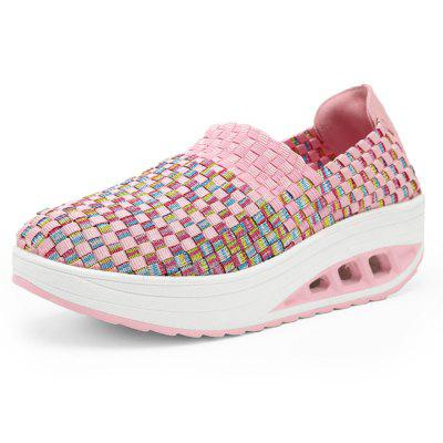 Women Colorful Knitted Heighten Boat Loafers