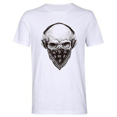 Men Hot Cool Masked Skull Print T-shirt