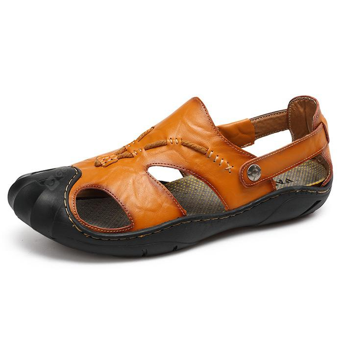 Men Leisure Summer Breathable Anti-slip Leather Sandals