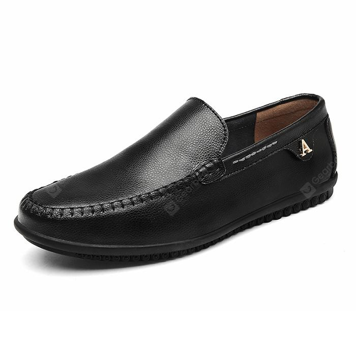 Men Trendy Slip-On Leather Flat Casual Shoes