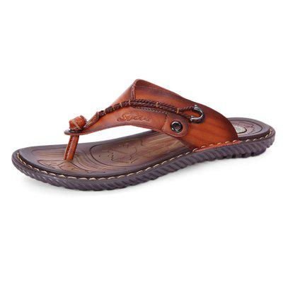 Men Leisure Summer Microfiber Leather Flip-flops Slippers