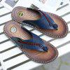 Men Leisure Summer Microfiber Leather Flip-flops Slippers - STEEL BLUE