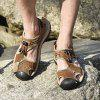 Men Trendy Anti-slip Adjustable Leather Sandals - BROWN