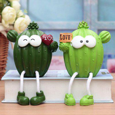 Cute Resin Cactus Hanging Feet Doll Ornament 2pcs