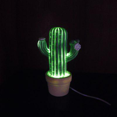 Cactus LED Night Light Battery Powered / USB Charging Lamp