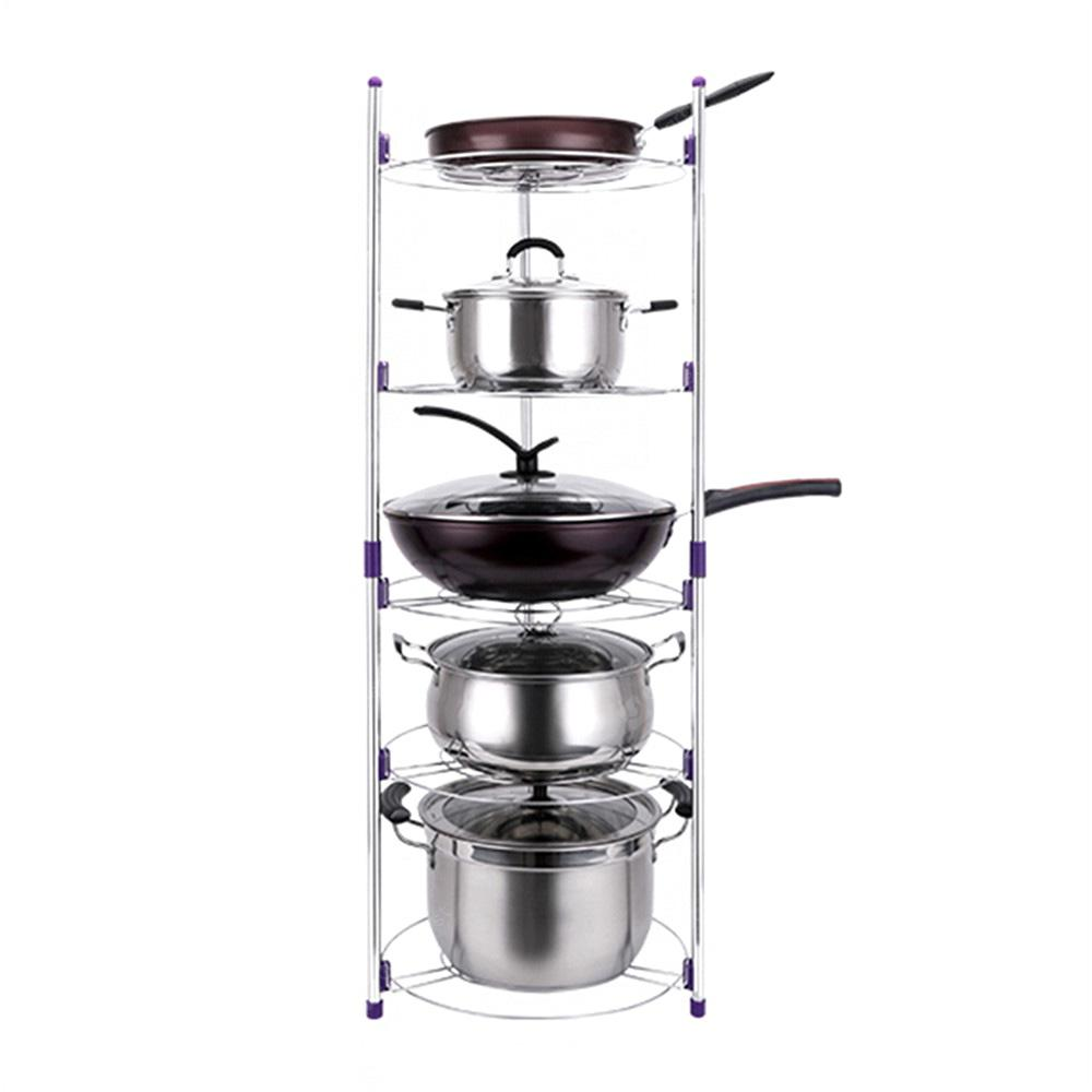 Pan Pot Organizer Rack Cookware Stand with 5 Tiers