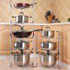 Pan Pot Organizer Rack Cookware Stand with 5 Tiers - SILVER