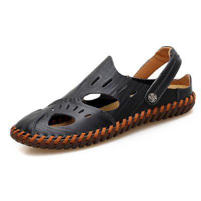 Men Leisure Hollow-out Dual-use Leather Sandals