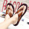 Men Stylish Microfiber Leather Flip-flops Slippers - BROWN