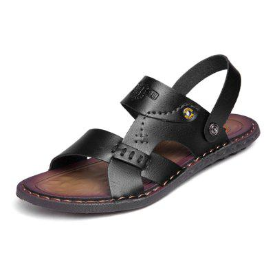 Men Stylish Hollow-out Dual-use Microfiber Leather Sandals