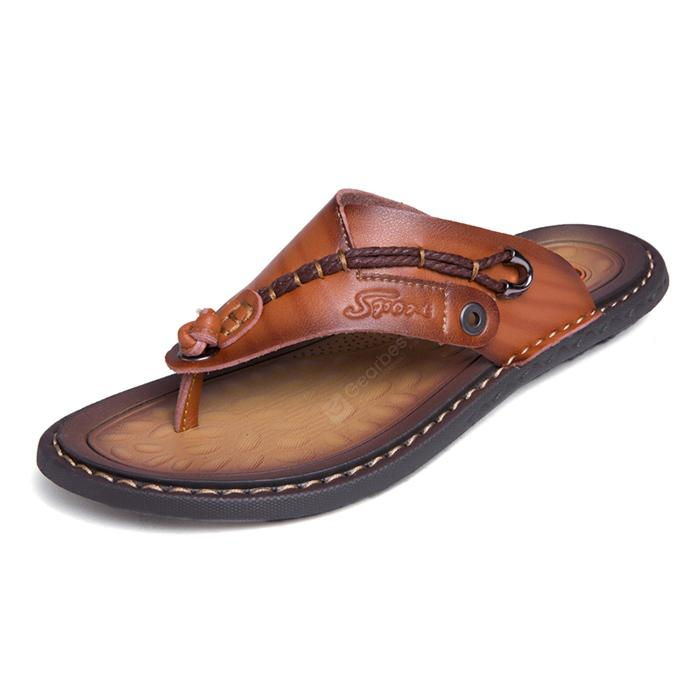 Men Stylish Breathable Microfiber Leather Flip-flops Slippers