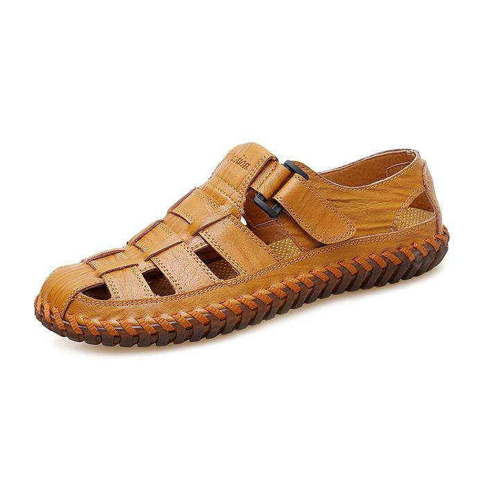 Men Stylish Breathable Plus Size Leather Sandals