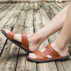 Men Stylish Hollow-out Dual-use Microfiber Leather Sandals - MAHOGANY