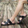 Men Stylish Hollow-out Dual-use Microfiber Leather Sandals - BLACK