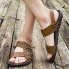 Men Stylish Hollow-out Dual-use Microfiber Leather Sandals - BROWN