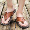 Men Stylish Breathable Microfiber Leather Flip-flops Slippers - BROWN