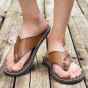 Men Stylish Breathable Microfiber Leather Flip-flops Slippers - SEPIA