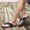 Men Stylish Breathable Microfiber Leather Flip-flops Slippers - BLACK