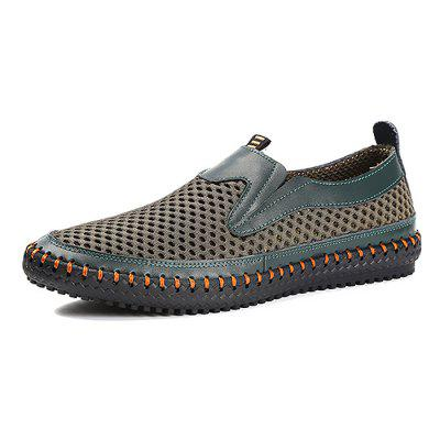 Men Casual Breathable Slip-On Leather Flat Shoes