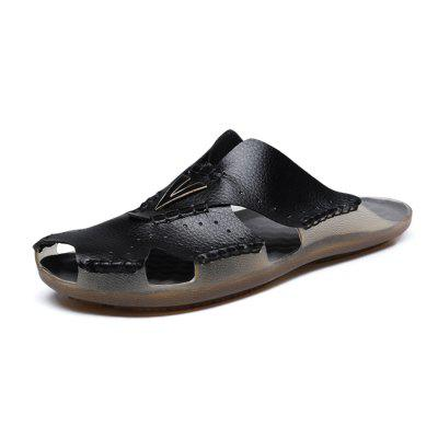 Men Casual Hollow-out Microfiber Leather Slippers