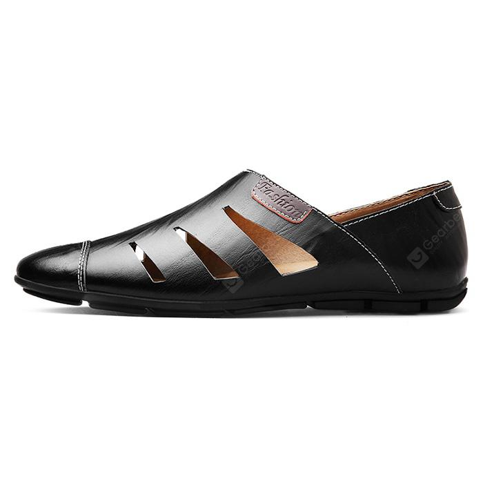 Men Stylish Hollow-out Slip-on Leather Sandals