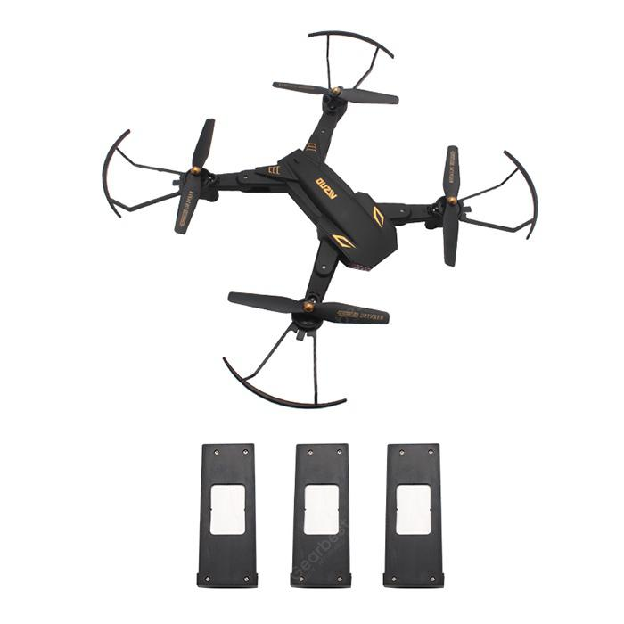 TIANQU VISUO XS809S WiFi FPV Camera RC Drone Quadcopter - Black 720P + Wide Angle + Three Batteries