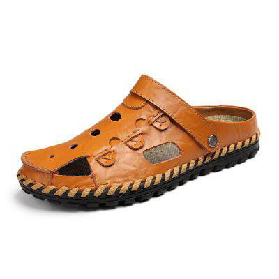 Men Breathable Handcrafted Dual-use Leather Sandals