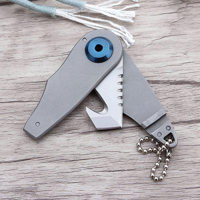 Outdoor Mini Stainless Steel No Lock Folding Knife Keychain