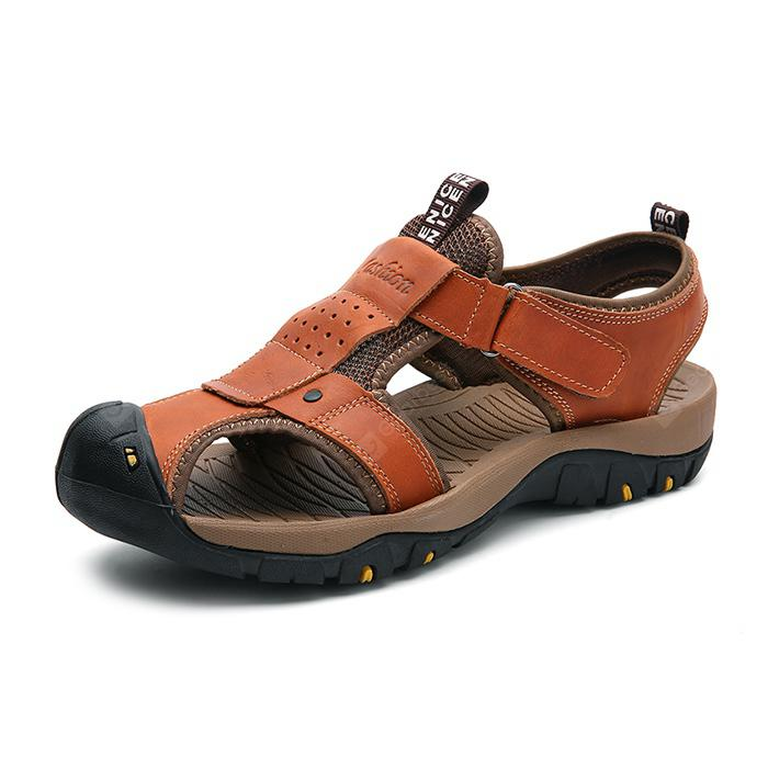 Men Trendy Hollow-out Breathable Leather Sandals