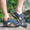 Men Trendy Hollow-out Breathable Leather Sandals - STEEL BLUE